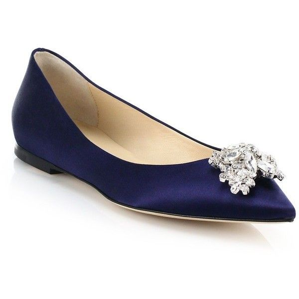 af2ef247b86 Jimmy Choo Swarovski Crystal Satin Point-Toe Flats ($890) ❤ liked on  Polyvore featuring shoes, flats, navy, apparel accessories, navy pointed  toe flats, ...