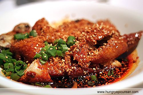 Fried Chicken  in a Szechuan Mala sauce HungryEpicurean - Best Szechuan Restaurant in Singapore