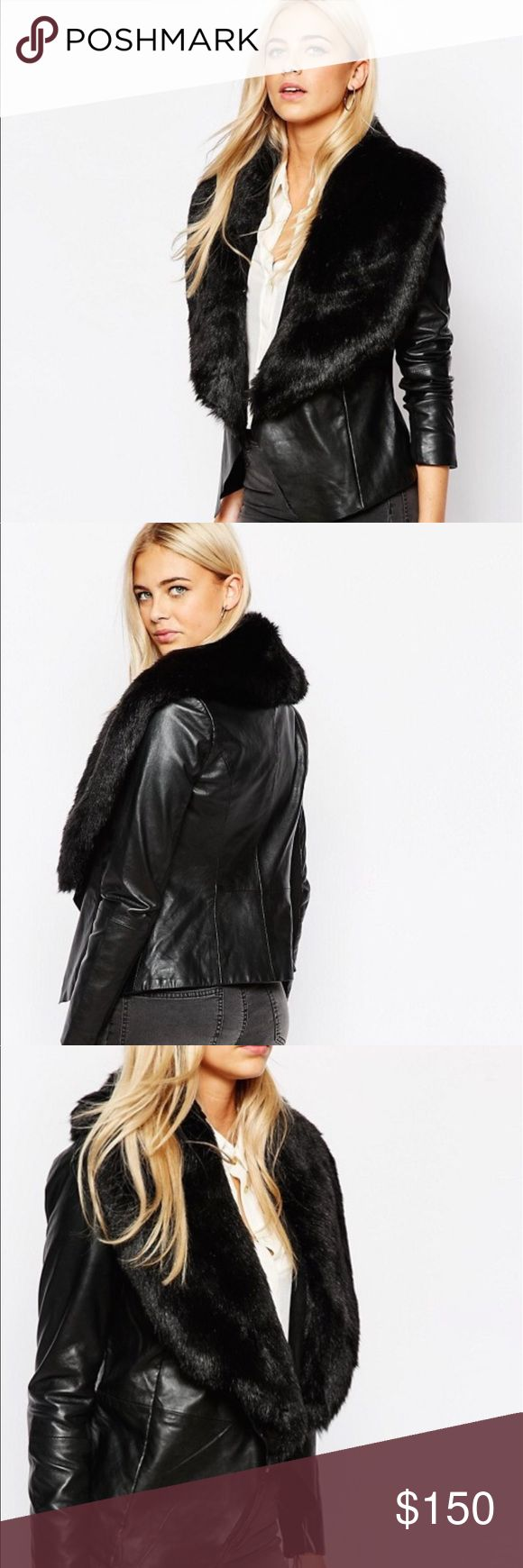 Oasis leather fur jacket size small Purchase on asos 100% real leather Oasis Jackets & Coats