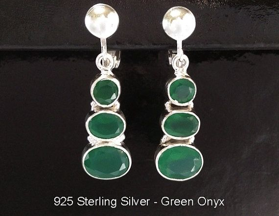 Clip On Earrings: Green Onyx in 925 Sterling Silver Clip On Earrings @ https://www.etsy.com/shop/EarringsArtisan and https://www.etsy.com/shop/ClipOnEarringsShop #cliponearrings #sterlingsilvercliponearrings #clipearrings #clip #earrings #silverearrings #silvercliponearrings #clipon