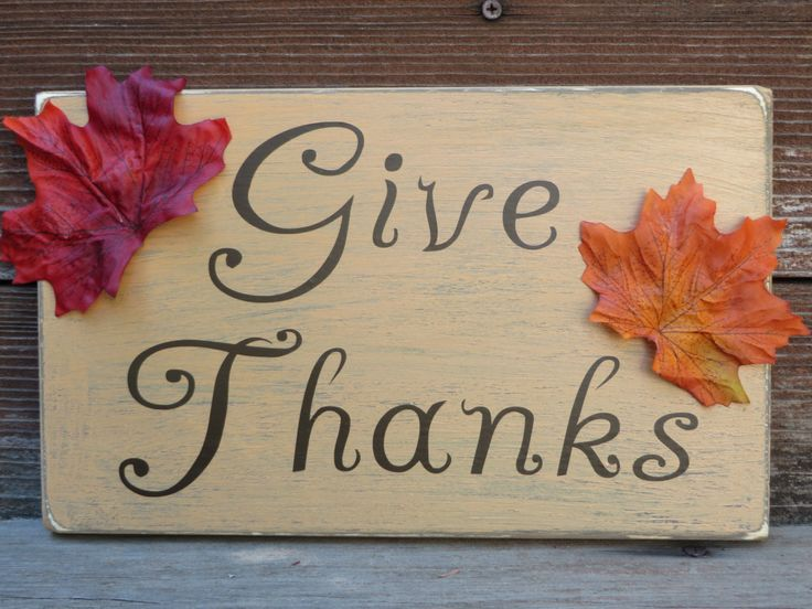 Vintage Thanksgiving Fall Decor Sign Give Thanks Plaque