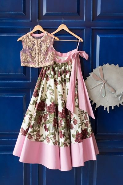 Light Lehengas - Beautiful Vintage Rose Printed Lehenga with a Big Bow and Sheer Embroidered Blouse | WedMeGood #wedmegood #indianlehenga #choli #lehenga #indianbride #sisterofthebride