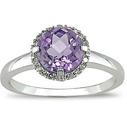 10k Gold Amethyst and Diamond Accent Ring. $ 166.49