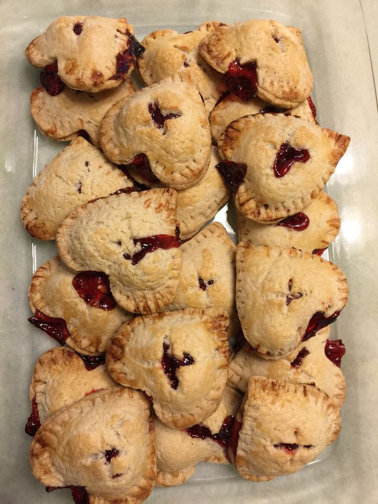 Make these super easy heart shaped mini cherry pies for loved ones!   You need:  1 recipe for pie crust, 1 can cherry pie filling, Milk (for brushing), Sugar (for sprinkling). Directions: Roll out pie crust and cut with heart shaped cookie cutter. Fill each heart shaped pie crust with cherry pie filling. Cover the pie with another piece of heart shaped pie crust on top.  Press the sides together with a fork and make an x in the middle of the pie.  Bake @ 350 f for 35 minutes and enjoy!