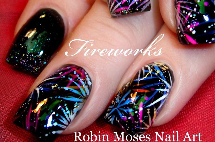 Fireworks Nail Art - Cute Nail Ideas