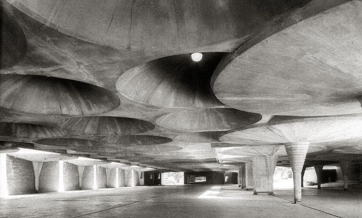 Inside the garage of Frank Lloyd Wright's Johnson Administrative Building.