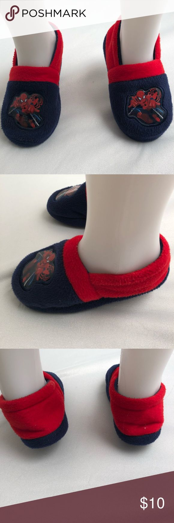 Marvel Spider-Man slippers Marvel Spider-Man slippers. Only worn once for Panama day in preschool. Wanted more of a shoe with rubber sole than a slipper with soft bottom to wear at school. Marvel Shoes Slippers
