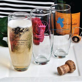 Silkscreened Glassware Collection Stemless Champagne Flute Favors ($1.39 EACH)