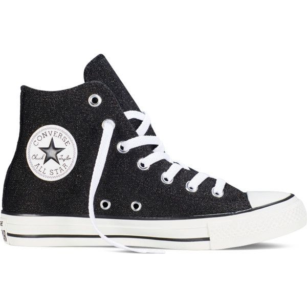 Converse Chuck Taylor All Star Sparkle Knit – black Sneakers ($65) ❤ liked on Polyvore featuring shoes, sneakers, black, black shoes, shiny black shoes, black sneakers, polish shoes and sparkle shoes