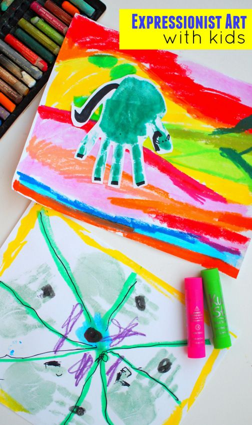Hand Print Franz Marc Expressionist Art With Kids