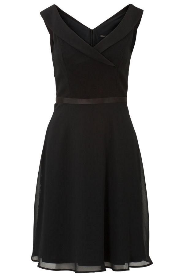 Jurk met v-hals en soepele rok Zwart