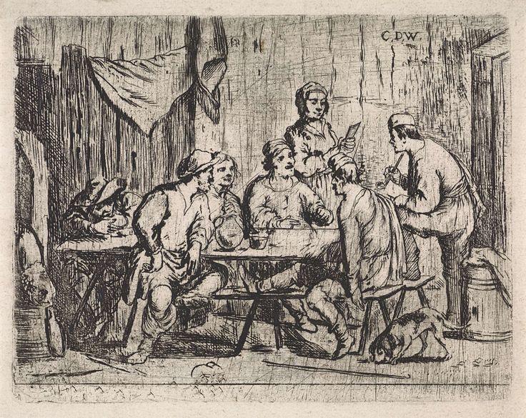 Cornelis de Wael   Zes boeren en herbergierster in herberg, Cornelis de Wael, 1630 - 1648   Interieur van een herberg met boeren die in gesprek zijn. Eén van hen rookt een pijp. Achter de tafel staat een de herbergierster met een rekening in de hand. Rechts op de voorgrond een hond.