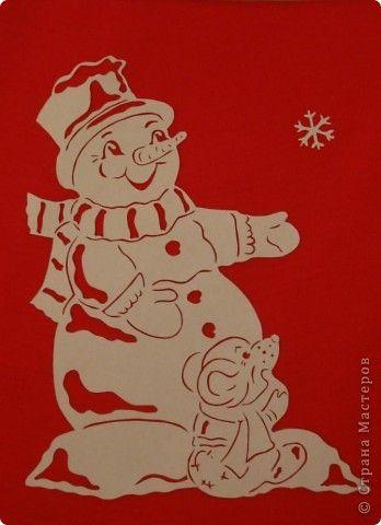 Картина панно рисунок Новый год Вырезание Снеговик с мышкой Бумага фото 1