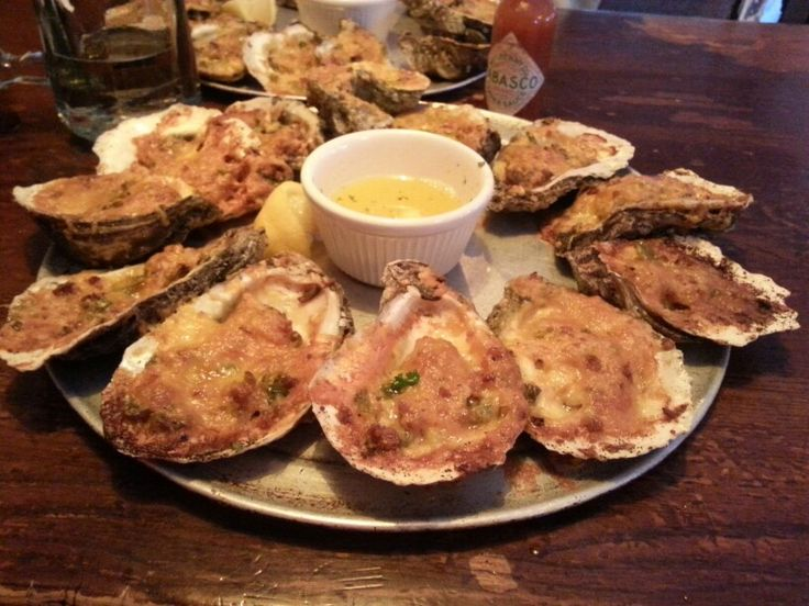 Irresistible Spicy Lafayette oysters at Peg Leg Pete's,  Pensacola Beach, FL.
