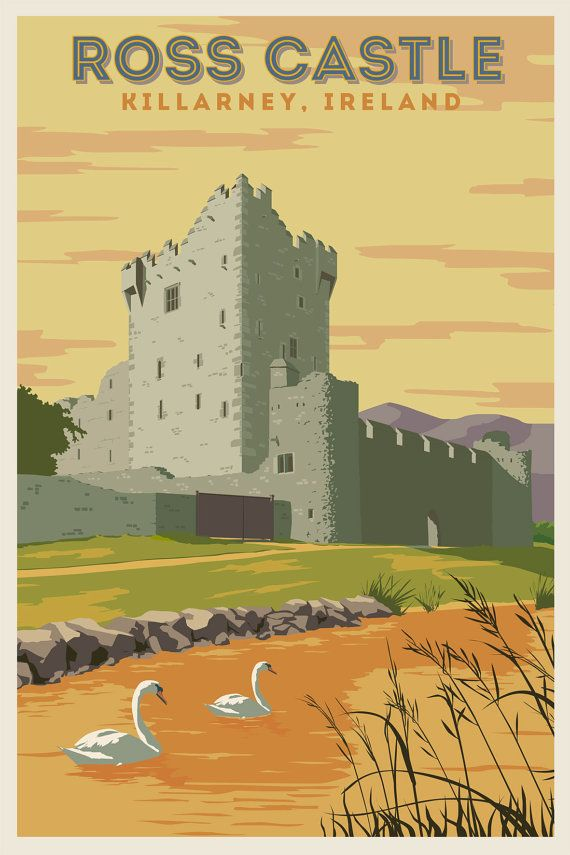 Ross Castle, Killarney, Ireland. Vintage Style Travel Poster