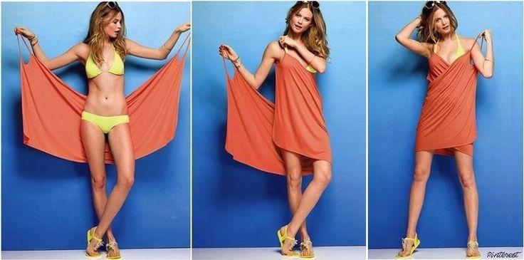Adoptez un look d'été chic et décontracté : grâce à quelques points de couture, voici comment transformer simplement un carré de tissu en une robe paréo !
