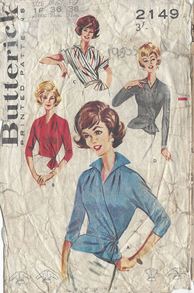 "1950s Vintage Sewing Pattern B36"" WRAP-AROUND BLOUSE (R703)"