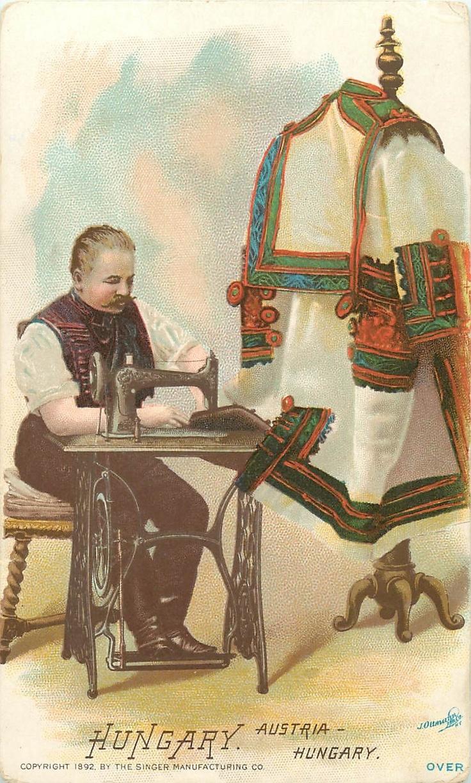 SINGER SEWING MFG CO. TRADE CARD HUNGARY MAN @ SEWING MACHINE 1892 VICTORIAN   eBay