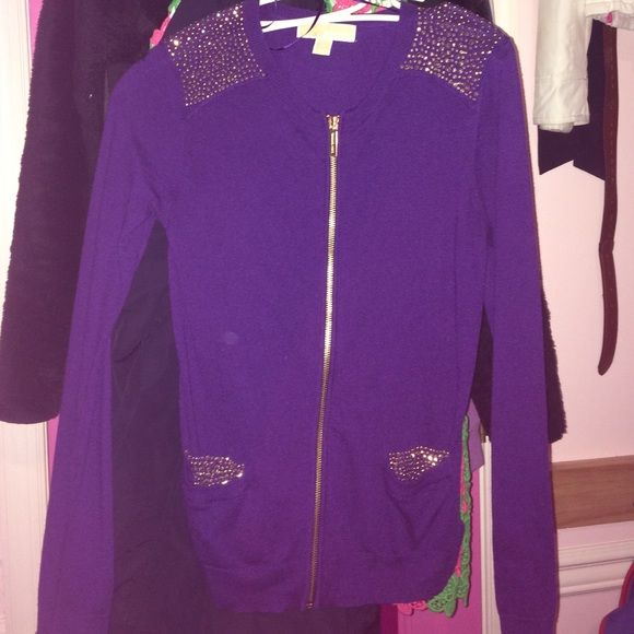 LIKE NEW MICHAEL KORS BLING SWEATER USED ONCE FOR LIKE AN HOUR FOR AN INTERVIEW. PURPLE WITH GOLD TONE ACCENTS. BLING ON SHOULDERS AND POCKETS. Michael Kors Sweaters Cardigans