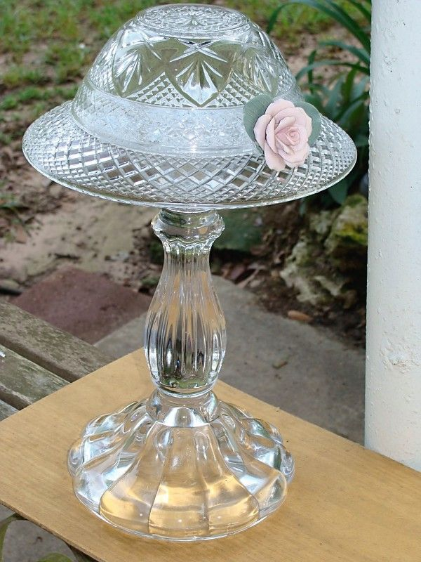 Hat on Stand - Bowl, Plate, Candle Stick and a bisque rose. Created for a friend's 'powder room.' (I made it!)