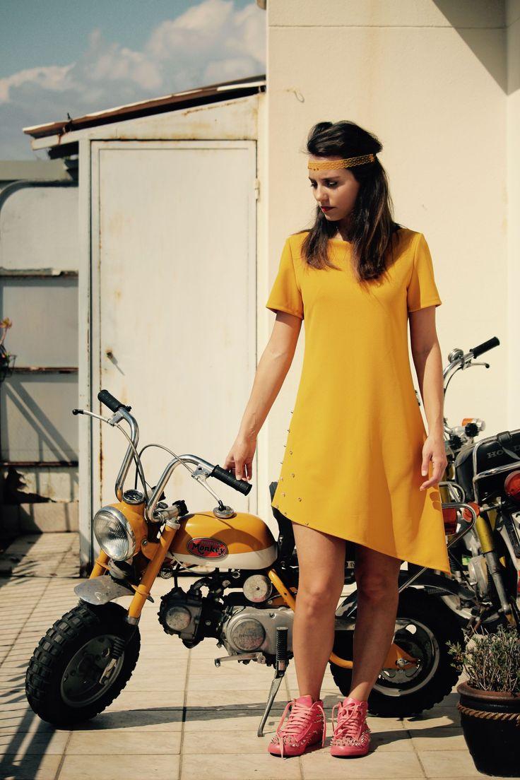 "The product Dress ""Monkey"" is sold by Nina Transfeld Couture on www.ninatransfeldcouture.com  #dress #yellow #fashion #mode #robejaune #vintage #madeinfrance #boutique #Nice #vieuxNice #HondaMonkey #ninatransfeldcouture"