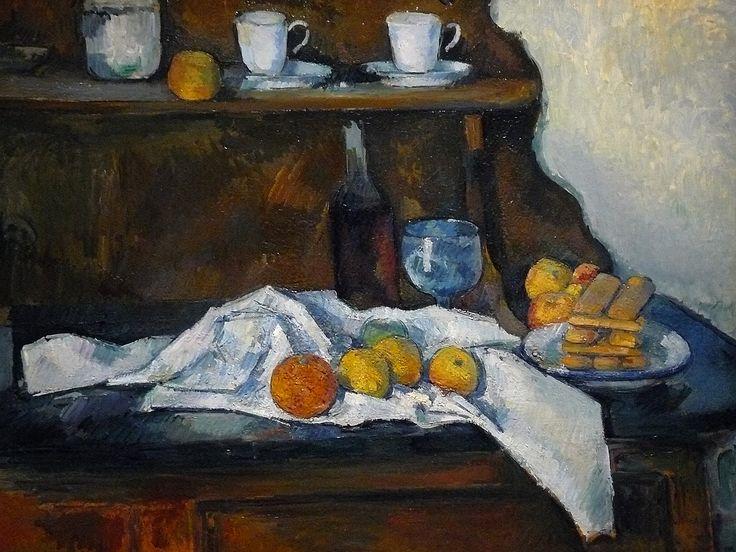 """CEZANNE,1877-79 - Le Buffet - Still Life, The Buffet (Budapest) - Detail -a  -  TAGS : details détail détails detalles painting paintings peinturepaintings """"Paul Cézanne"""" """"Paul Cezanne"""" Cezanne Cézanne """"Still life"""" """"Nature morte"""" Budapest Hongrie Hungary """"Nature morte"""" citrons citron lemon lemons orange oranges nappe """"nappe blanche"""" """"white cloth"""" chiffon cloth bleu blue tasse cup sucrier """"sugar bowl"""" buffet knife fruit food pomme apple apples glass verre dessert biscuits"""