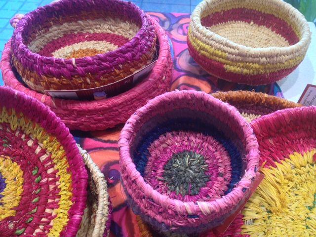 Colourful Tjanpi Desert Weavers baskets at Tali Gallery