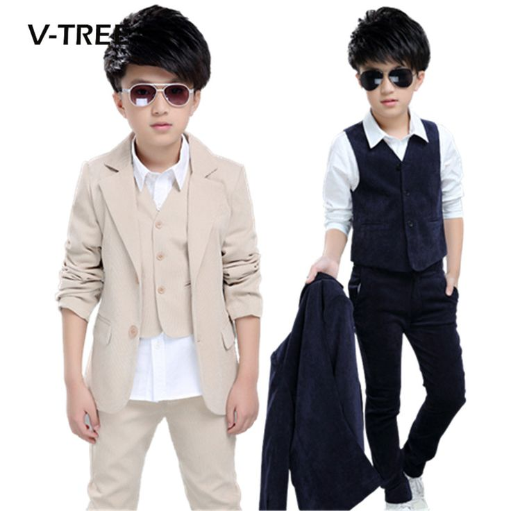 ==> [Free Shipping] Buy Best Juinor boys clothing sets boys striped vestpantcoat suits formal outfits kids school uniform children wedding party clothes Online with LOWEST Price | 32432311609