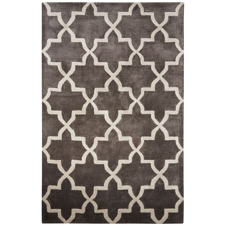 Urban Luxe Contemporary Trellis Pattern Dark Gray Wool and Art Silk Area Rug (8' x 11') (8' x 11'), Grey, Size 8' x 11'