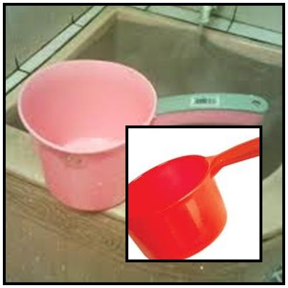 Gayung...plastic water scooper.