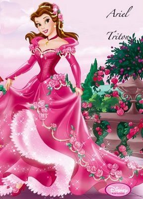 Belle From Beauty And The Beast In Pink Rose Dress