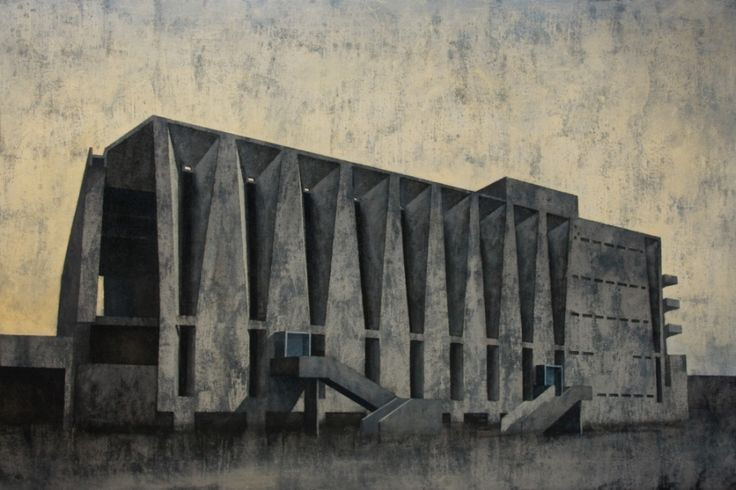 Palys Joanna, Modernist Element - Frame 7, acrylic on canvas,  modern architecture, modernist architecture, architecture on paitning, modernism in India, grey, yellow, modern art, polish art