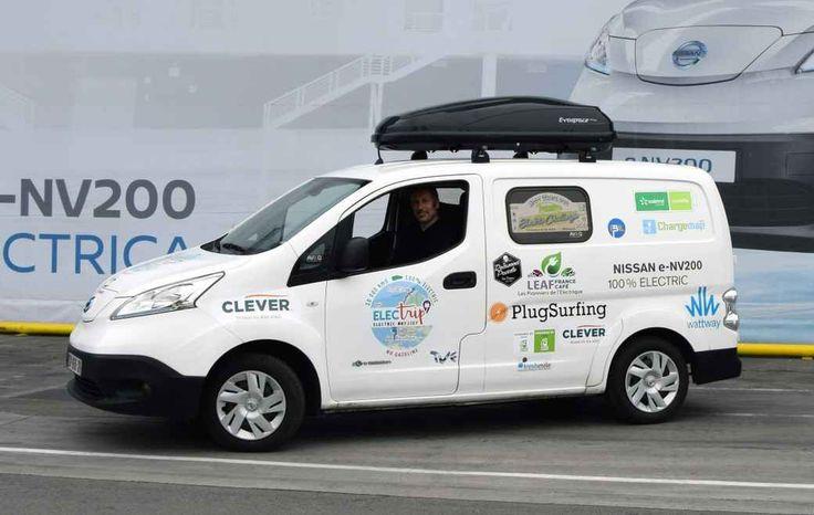 """Al via l'electric tour a bordo di una Nissan e-NV200 Al via il tour a zero emissioni, della durata di 35 giorni e lungo 10mila km, a bordo del veicolo commerciale 100% elettrico Nissan e-NV200: il cosiddetto """"Nissan e-NV200 Electrip""""! Il viaggio si sv #nissane-nv200 #nissanleaf"""