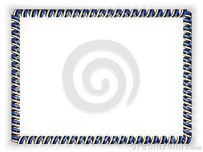 Frame and border of ribbon with the Estonia flag, edging from the golden rope. 3d illustration.