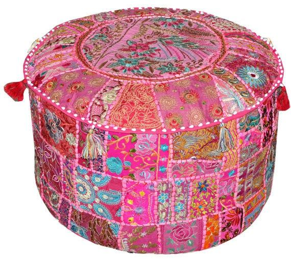 Indian  Pouf Ottoman Embroidery PoufPatchwork Cover Round pouf cover vintage ottoman footstool patchwork Vintage Old Saree Cotton