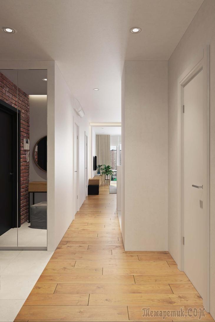 Дизайн-проект квартиры в Красногорске, МО, площадью 86.5 кв. м.,был выполнендля молодой семьи дизайнерами мастерской Geometrium.Заказчики проекталюбят путешествовать, занимаются плаванием, фитнесо...
