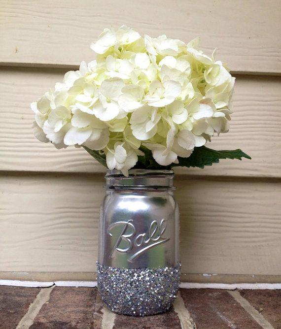 3 Shining shimmering silver Painted distressed mason jars vase vintage centerpiece wedding decor ball kerr rustic wedding Glitter sparkling via Etsy