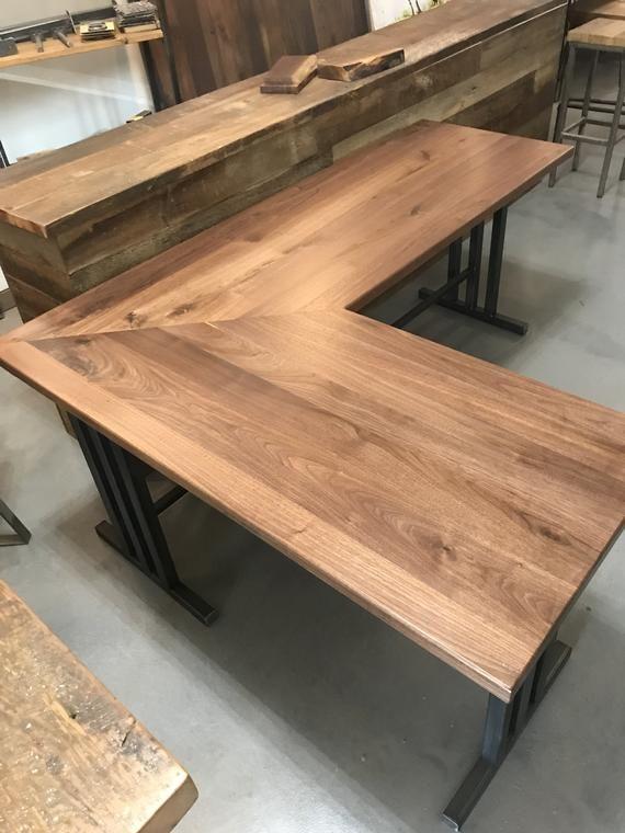L Shaped Full Size Executive Walnut Steel Frame Wooden Desk