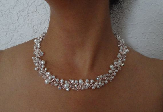 White and lacy pearl beaded necklace. Unique bridal by ByDrora, $40.00