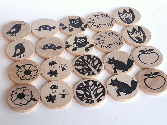 Natural wood memory game