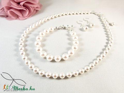 Meska - Egyszerű gyöngysor esküvőre Swarovski gyöngyből Edina09 kézművestől