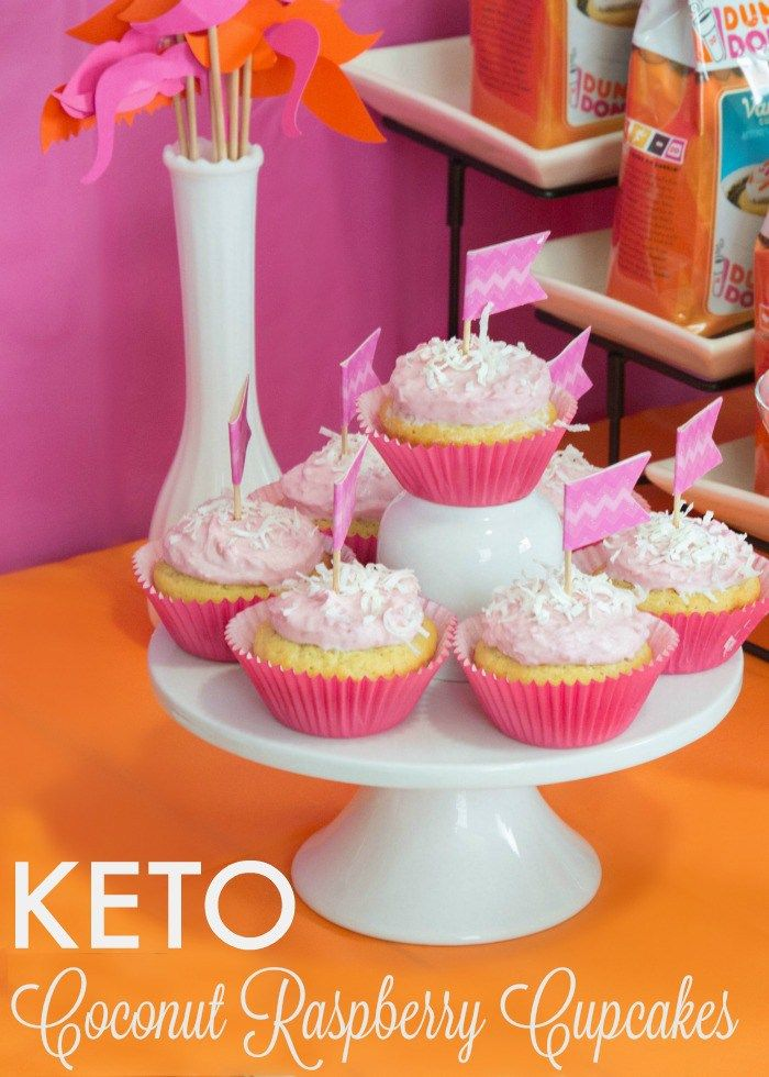 Easy Keto Coconut Raspberry Cupcake Recipe. LCHF Cupcakes - Easy to make and delicious!