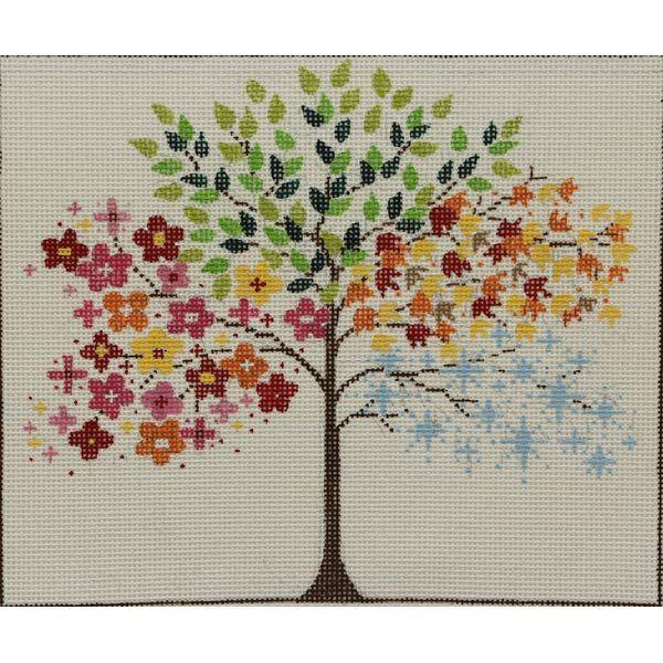 Item# 2377, Seasonal Tree Handpainted needlepoint design on 13 mesh cotton canvas. - Our Secret Crafts