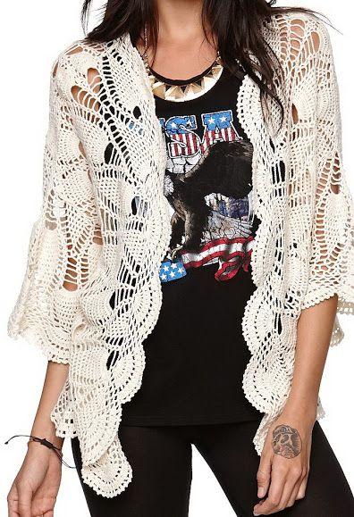 Outstanding Crochet: Crochet mandala cardigan from Volcom.