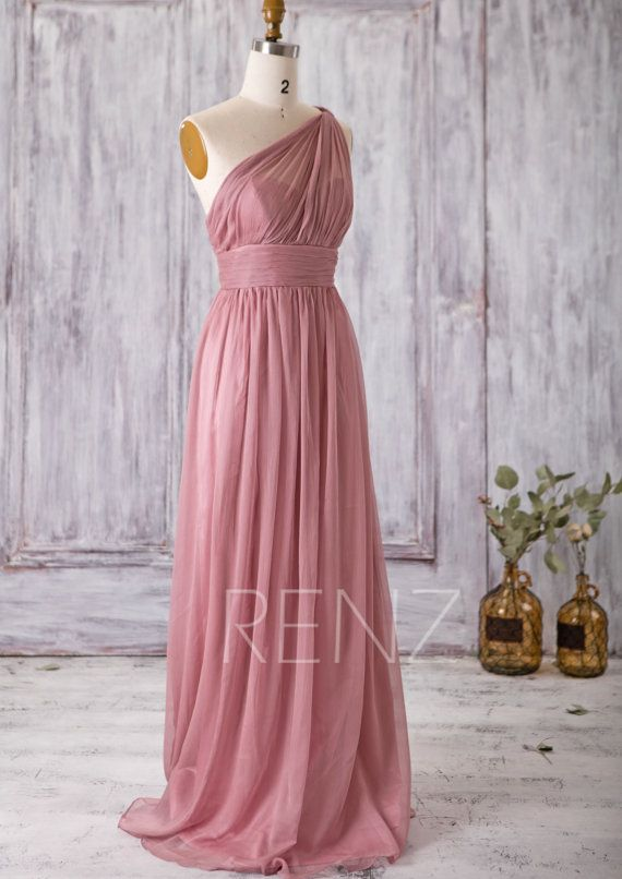 2016 Dusty Rose Bridesmaid Dress Long Chiffon Maxi by RenzRags