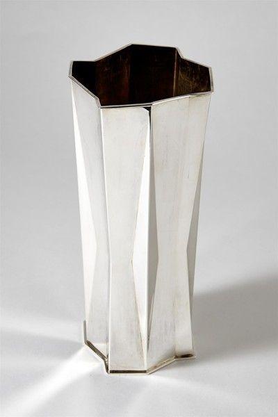 Vase designed by Tapio Wirkkala, Finland. 1970's. H: 21,5 cm/ 8 1/2'' Sterling silver.
