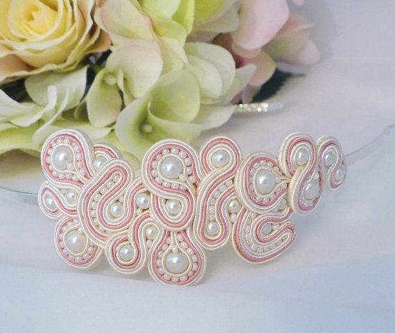 Wedding hairband. Soutache hair accessory. Prom hair accessory by MollyG Designs. Pink and cream hairband. Special occasion hair accessory.