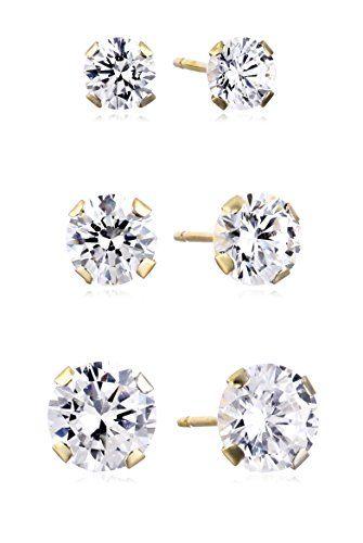 Price 49 10k Gold Swarovski Zirconia Three Stud Earrings Set