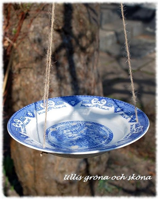 For birds.. I am going to do this one. Love the idea of using old plates