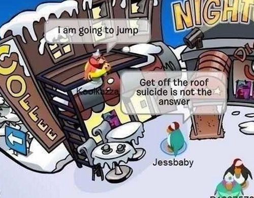 funny club penguin suicide jump